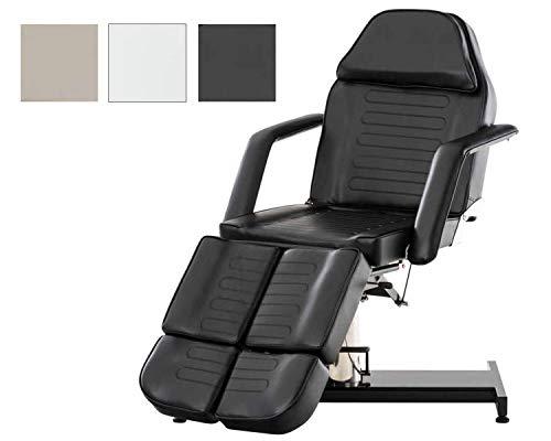 CLP Split hydraulische Kosmetikliege V2 I stufenlos verstellbare Massageliege I geteiltes Fußteil verstellbar, Farbe:schwarz