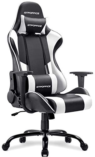 Gtpoffice Gaming Chair Massage Office Computer Chair for Adult Reclining Adjustable Swivel Leather Computer Chair High Back Desk Chair Headrest and Massage Lumbar Support Cushion,1 Pack (White)