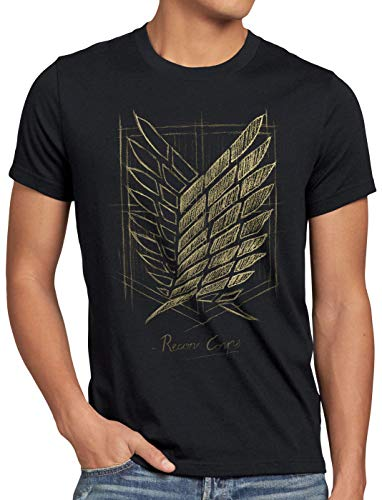 CottonCloud Protect The Wall Herren T-Shirt AOT on Attack Anime Titan, Größe:M, Farbe:Schwarz