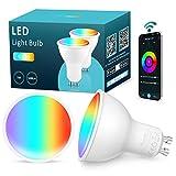 Maxsure Lampadina LED GU10 Intelligente[2 Pezzi], 5W 500LM, Equivalente a50W, GU10 Lampadina Smart WIFI,...