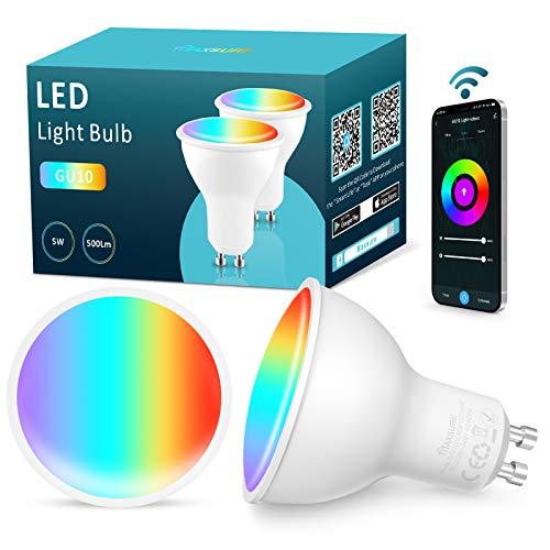 Maxsure Lampadina LED GU10 Intelligente, Lampadine Alexa 5W 500LM Equivalente a50W, GU10 Lampadina Smart WiFi, Dimmerabile RGB+2700K-6500K, Compatibile Google Home, Controllo Vocale, Timer, 2 Pezzi
