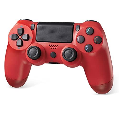PS4 コントローラーワイヤレス 最新バージョン 700mAh Bluetooth リンク遅延なしジャイロセンサー機能 イヤホンジャック ゲームパット 二重振動 高耐久ボタン 「2021最新」PS3 コントローラー レッド