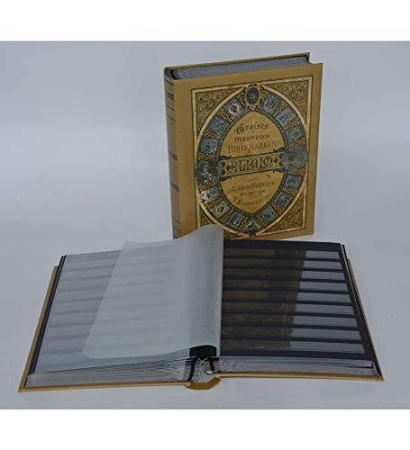 Goldhahn Briefmarkenalbum Einsteckbuch 60 Schwarze Seiten Nostalgie-Album Antik Briefmarken für Sammler