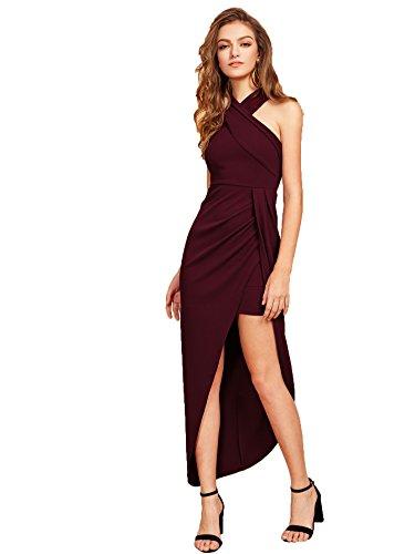 MakeMeChic Women's Sleeveless Split Ruched Halter Party Cocktail Long Dress Burgundy M