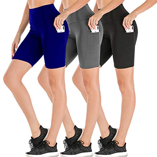 Women's High Waist Workout Yoga Shorts Two Side Pocket-Best for Running,Dance,Bike (1# Black,Grey,Blue,3 Pack, Medium)
