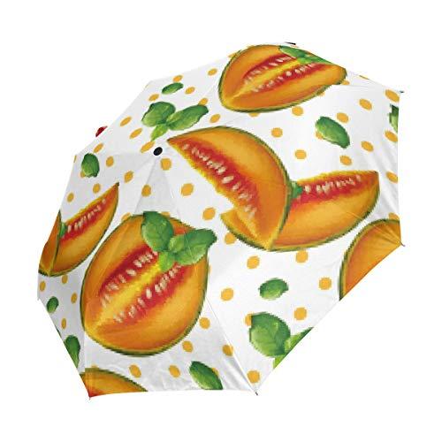 Ieararfre Cantaloupes Kompakter Reise-Regenschirm, Winddicht, wasserdicht, automatisches Öffnen und Schließen