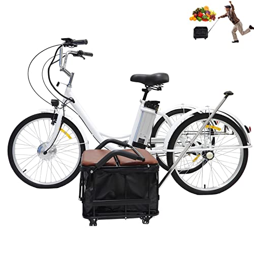 Mobilità elettrica triciclo per adulti Triciclo ibrido a 3 ruote Comodo scooter elettrico da città Triciclo con seggiolino per bambini + cestino con ruote, spesa, gita, esercizio fisico(24'',white)