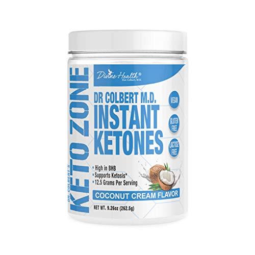 Price comparison product image Keto Zone Instant Ketones Powder (Coconut Flavor) - Exogenous Ketones - Ketone Salts - 12 Grams BHB per scoop (Beta-Hydroxybuturate) (21 Servings) - Recommended in Dr. Colbert's Keto Zone Diet