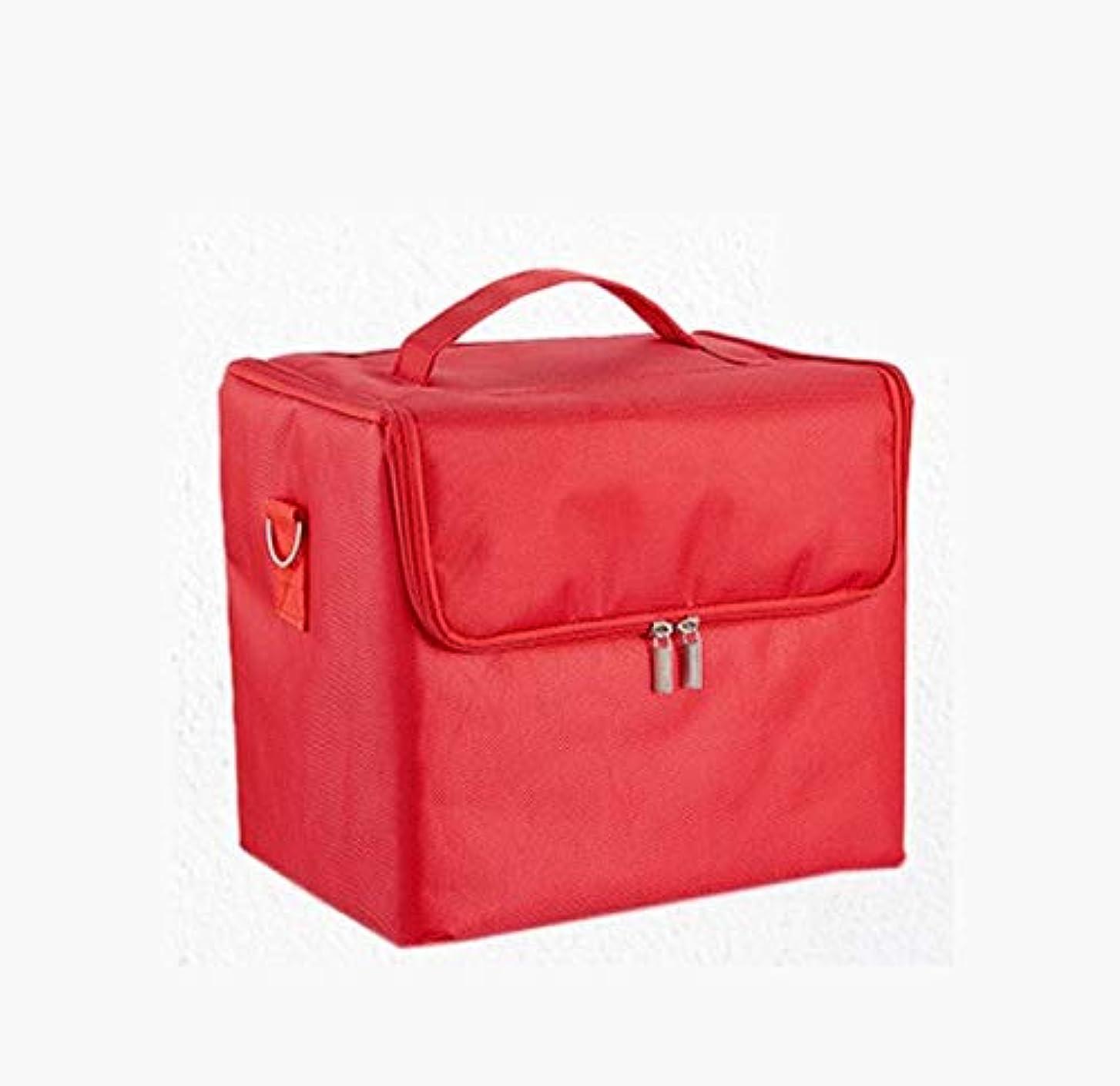 のスコア文言補正化粧箱、大容量多機能防水化粧品ケース、携帯用旅行化粧品袋収納袋、美容化粧ネイルジュエリー収納箱 (Color : Red)