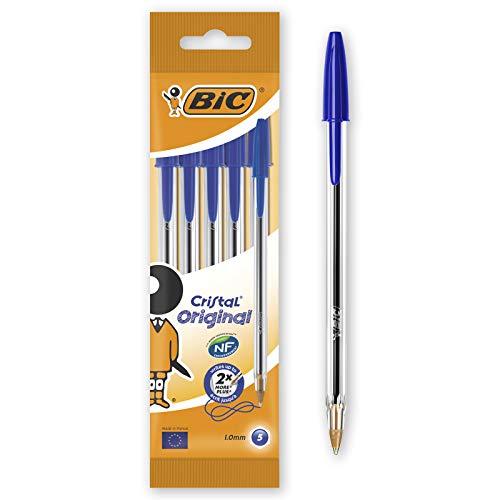 BiC Cristal Kugelschreiber, mittel 5 Stück blau