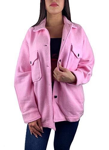 Worldclassca Damen Oversized Hemd HEMDJACKE EINFARBIG HOLZFÄLLERHEMD LANGARMHEND MIT Brusttaschen HEMDBLUSE Bluse Shirt Designer Blogger NEU S-L 36-42 (M, Rosa)