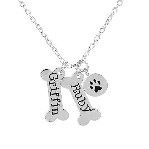 VAWAA Etiqueta de Perro Collar Griffin Collares Colgantes Huesos Forma Perro Pata impresión...