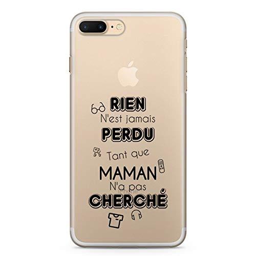 ZOKKO - Cover per iPhone 7 Plus, niente è mai perso Tant Que Maman non ha cercato – Taglia iPhone 7 Plus Plus Plus – Morbido Trasparente Inchiostro Nero