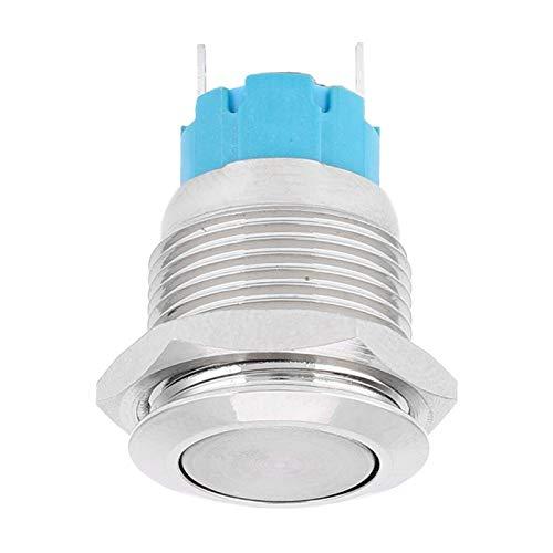 Interruptor de botón a Prueba de Agua Interruptor de botón pulsador 12VDC para Orificio de Montaje de 16 mm Paquete de 5 interruptores de reinicio automático