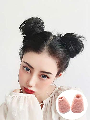 2Pcs Mini Claw Clip in Messy Bun Chignon Synthetic Hair Cat Ears Bun Extensions Wig Accessory Ponytail Updo Hair Pieces for Women and Girls and Kids (Black)
