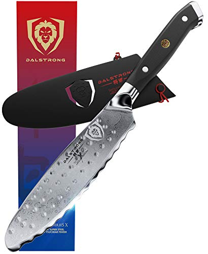 """DALSTRONG- Ultimate Utility Knife - Shogun Series X - Damascus - 6"""" Sandwich Knife and Spreader- Japanese AUS-10V Super Steel - Vacuum Treated - Guard Included"""
