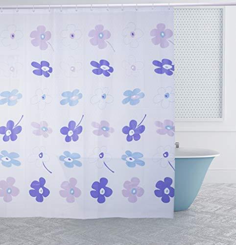 Duschvorhang 180 x 200cm Eva Wasserdicht, Anti Schimmel, Umweltfre&lich Waschbar, mit 12 Ringe, Bad Vorhang für Badezimmer Badewanne (Flower Blue)