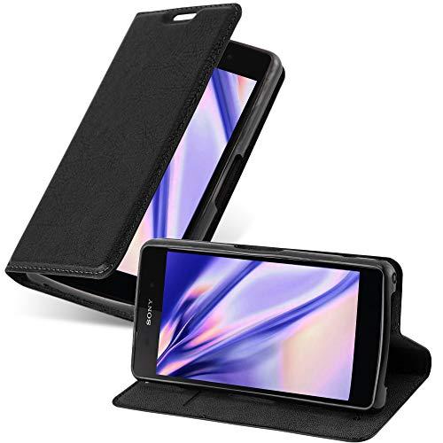 Cadorabo Hülle für Sony Xperia Z2 COMPACT in Nacht SCHWARZ - Handyhülle mit Magnetverschluss, Standfunktion & Kartenfach - Hülle Cover Schutzhülle Etui Tasche Book Klapp Style