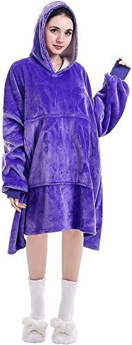 Manta mullida con Capucha para Mujer, cálida, acogedora, cómoda, Jersey, Reversible, de Gran tamaño, con Bolsillo, con Capucha (Color : Purple)