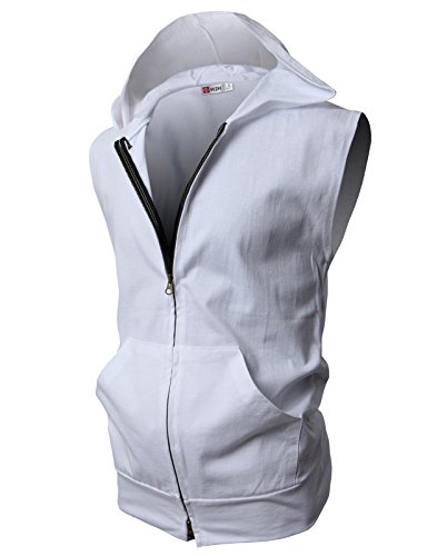 H2H Mens Sleeveless Fashion Hoodies Zip-up with Pocket White Asia L (JPSK13_N25)