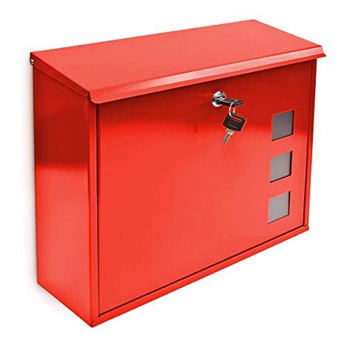 Relaxdays Briefkasten mit Dekor-Fenster Metall Rot, 10017419_2 1 Stück