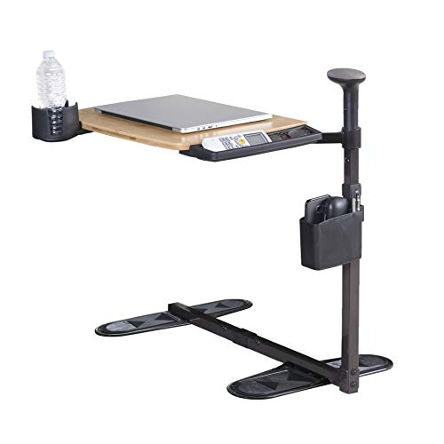 Signature Life Independence Tray Table, Bamboo Swivel TV Tray, Adjustable Laptop Table with Ergonomic Stand Assist Safety Handle, Independent Living Aid