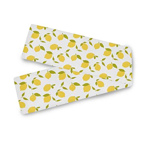 TropicalLife Camino de mesa rectangular F17 con estampado de frutas y limones, 33 x 228 cm, poliéster, para decoración de boda, cocina, fiesta, banquete, comedor, hogar, mesa de café