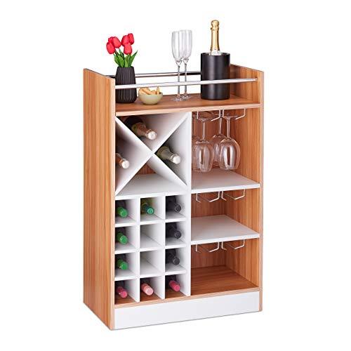 Relaxdays Weinregal mit Glashalter, 22 Flaschen, freistehend, Wein und Sekt, Hausbar HxBxT: 96 x 63 x 35 cm, braun