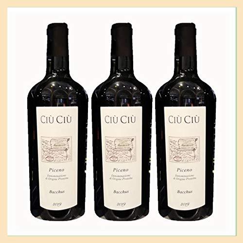 3x bottiglie vino Rosso Piceno DOP'Bacchus' biologico, Cantina Ciù Ciù, Offida, Ascoli Piceno, Italy, prodotto tipico marchigiano