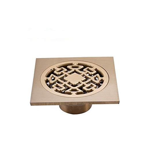 DYecHenG Bodenablauf Insect Deodorant Ablaufwasser Drain-Seite Garage Küche Bad Bodenablauf Abfall Auslassabdeckung (10x10x4cm) für Badezimmer Toilette Küche (Color : Gold 1, Size : 10 x 10 x 4 cm)