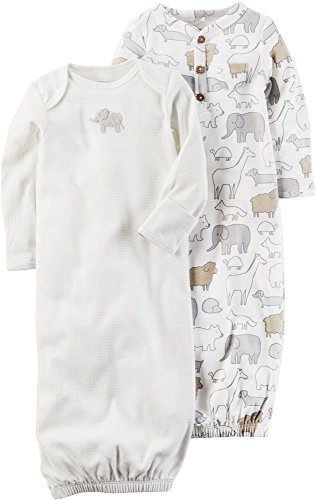 Carter's Baby 2-Pack Sleeper Gowns with Elephant Print 3 Months