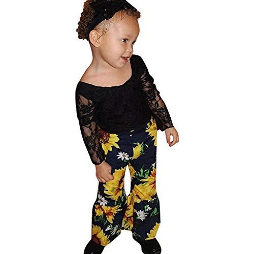 Julhold Peuter Kids Baby Mode Leuke Meisjes Lange Mouw Kant Effen Katoen Slim Tops+Bloemen Print Pant Outfit 0-4 Jaar