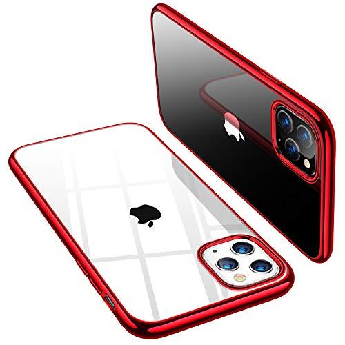 TORRAS Crystal Clear kompatibel mit iPhone 11 Pro Hülle Dünn Vergilbungsfrei Durchsichtig Handyhülle Hülle Silikon Slim Schutzhülle (Rot)