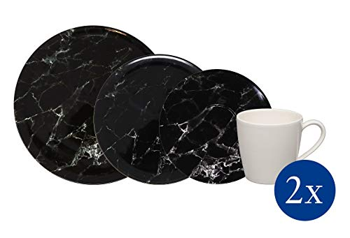 Villeroy & Boch 1951638856 Marmory - Vajilla (8 piezas), color negro (1 unidad)
