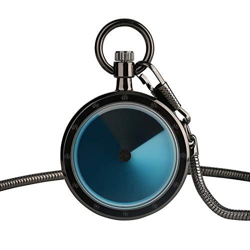 LLXXYY zakhorloge halsketting, kleurverloop kwarts zakhorloge hanger met halsketting mannen vrouwen lichtblauw swirl wijzer geek horloge slangenketting zwart platenspeler
