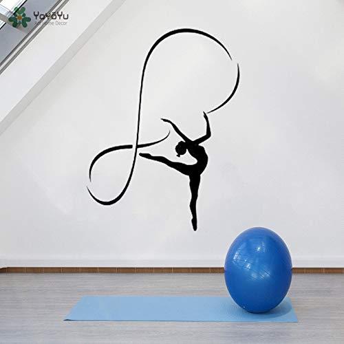 Fotobehang gymnast vinyl muursticker meisje muurschildering slaapkamer sportschool muursticker poster 85x112cm