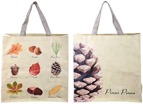 Esschert Design Einkaufstasche in Baumsammlung Optik, 39,5 x 14,5 x 40 cm, aus Kunststoff, mit 2 Grifflaschen, mit 9 Baumarten abgebildet