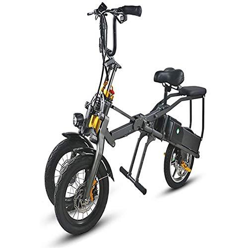 MMJC Portátiles De 14 Pulgadas De Tres Ruedas Eléctrico Triciclo Bicicletas Eléctricas Adultos Plegable Bicicleta Eléctrica De 36V MAX Adultos Alcance 75Km
