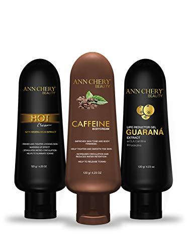 Ann Chery Beauty - Guarana + Caffeine + Hot Cream. 3-Pack