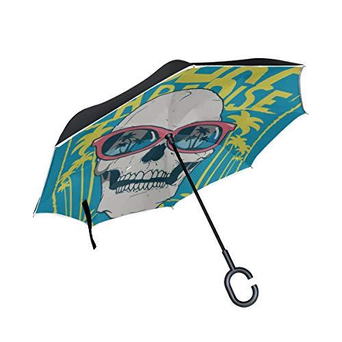 Double Layer Inverted Klappstühle mit Regenschirm Junge Leute Hip-Hop Coole Schädel Travel Klappschirm Regenschirm Wendbarer winddichter UV-Schutz für Regen mit C-förmigem Griff