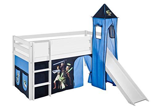 Lilokids Spielbett Jelle Star The Clone Wars, Hochbett mit Turm, Rutsche und Vorhang Kinderbett, Holz, weiß, 198 x 98 x 113 cm