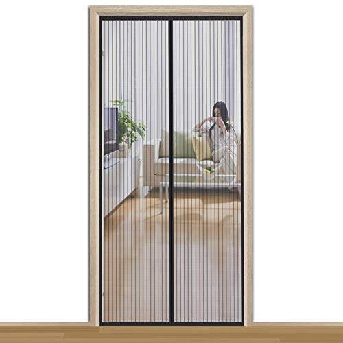 Aibingbao Mosquitera magnética para puerta, 75 x 200 cm, puerta de balcón magnética, marco sin agujeros, puerta corredera de terraza, color negro