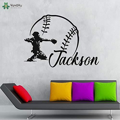 fancjj Baseball-personalisierte Namensbaseball-Wand-Schlafzimmer-Tapeten-Haus 57x41cm wandaufkleber Blumen küche Schmetterling kinderzimmer mädchen Punkte Spiegel