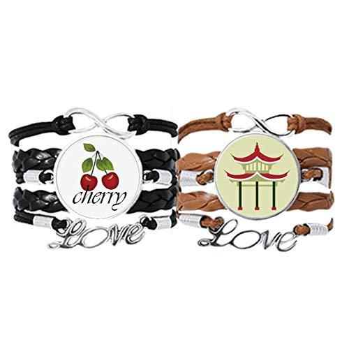 Bestchong Pavillon-China-Muster, Art-Deco-Stil, Geschenk, modisches Armband, Handschlaufe, Lederseil, Kirsch-Armband, Doppel-Set