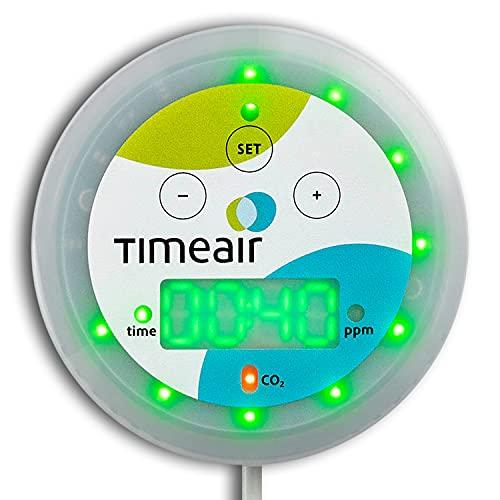 timeair ® CO2 Messgerät mit Restzeit-Anzeige | CO2 Ampel + mehr | CO 2 Melder + Monitor für gesunde Luftqualität | Kohlendioxid Sauerstoff Messgerät für frische Raumluft mit ppm Luftgüte-Sensor