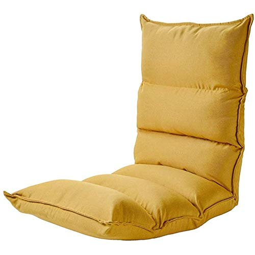YHLZ Lazy Sofa, Bodenstuhl Bodenkissen Sitz Adjustable, Multi-Winkel Lesestuhl Kissen auf dem Bett, Meditation Tatami-Matte mit Rückenlehne, 330lbs Laden (Color : Yellow)