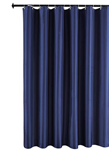 Biscaynebay Hotel Quality Fabric Shower Curtain Liners, Water Resistant Bathroom Curtains, Rust Resistant Grommets Top Weighted Bottom Machine Washable, Navy 72 Inch by 72 Inch