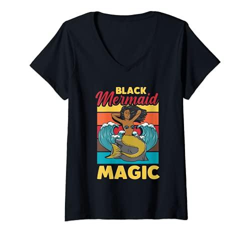 Donna Mermaid African American Black Mermaid Magic Maglietta con Collo a V