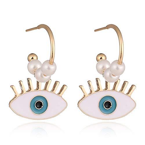 Exquisita Perla Blanca Singular Esmalte Mal Ojos Gota Pendientes Para Las Mujeres Largos Pendientes Joyería De Moda
