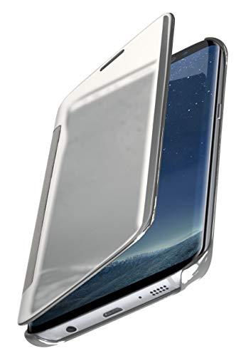 MoEx® Dünne 360° Handyhülle passend für Samsung Galaxy S8 | Transparent bei eingeschaltetem Display - in Hochglanz Klavierlack Optik, Silber